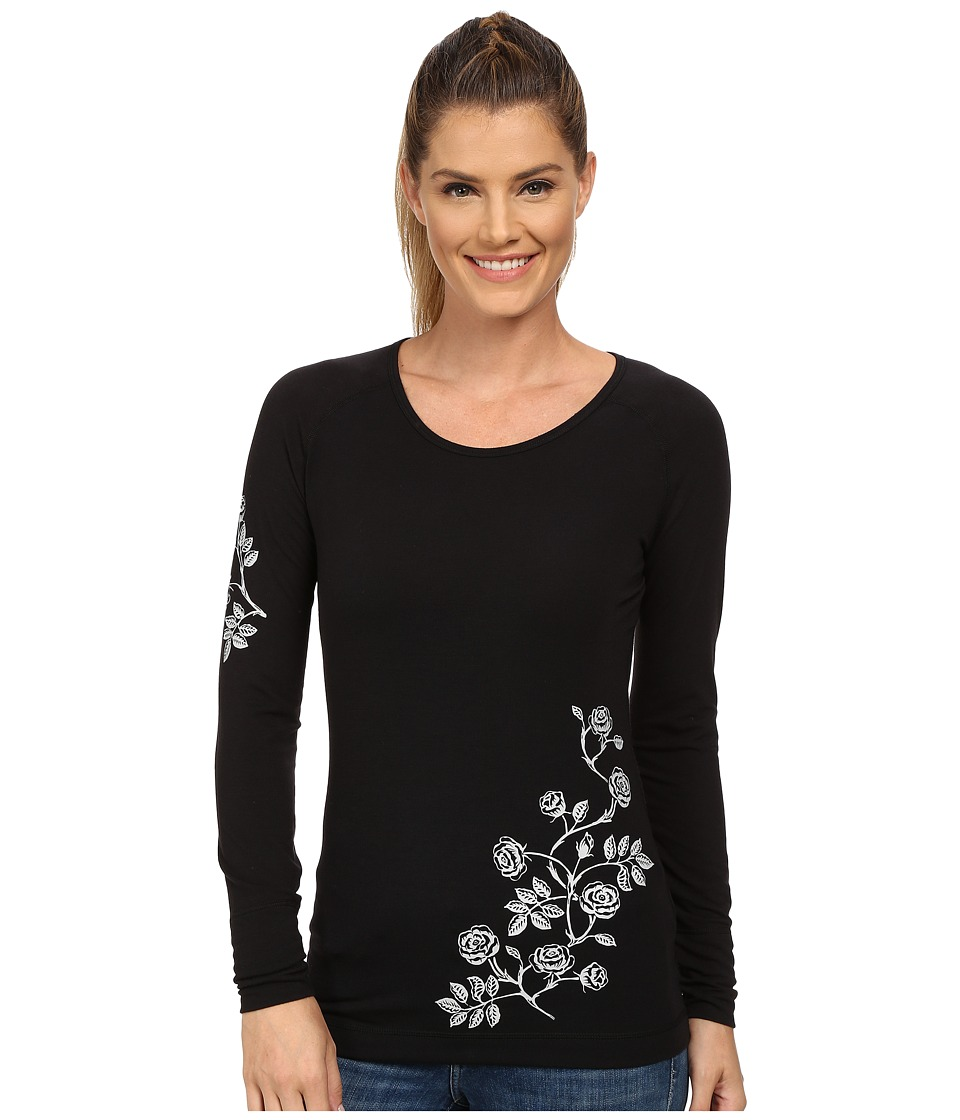 Hot Chillys - MTF Ditsy Floral Print Scoop Neck Top (Black/Grey) Women's Short Sleeve Pullover