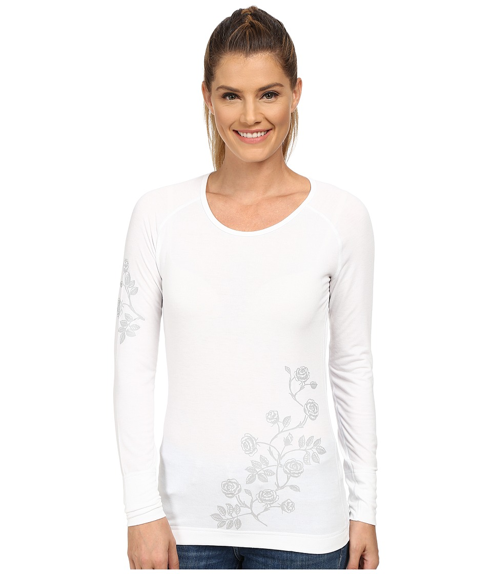 Hot Chillys - MTF Ditsy Floral Print Scoop Neck Top (White/Grey) Women's Short Sleeve Pullover