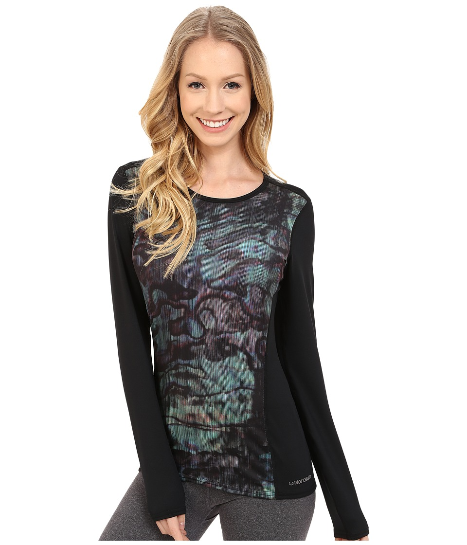 Hot Chillys - Micro-Elite Chamois Sublimated Print Crewneck (Abalone/Black) Women's T Shirt