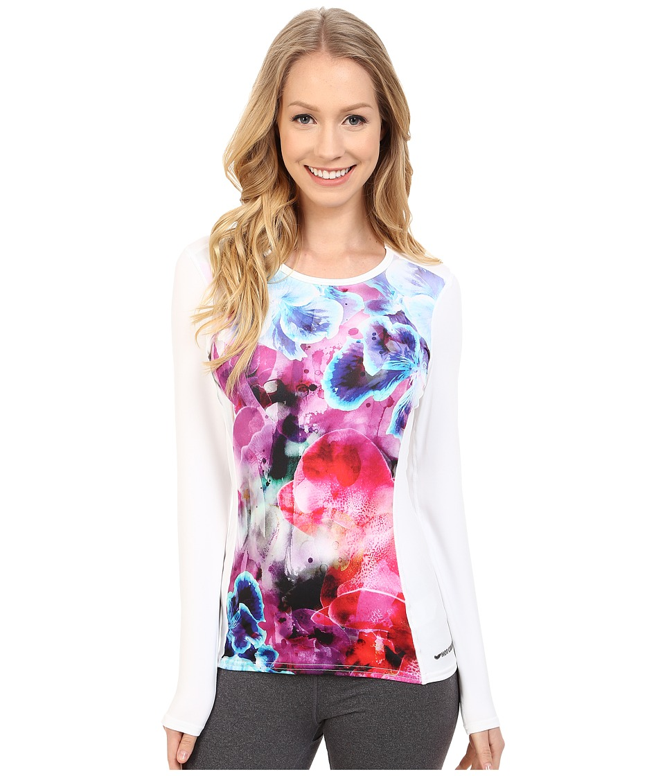 Hot Chillys - Micro-Elite Chamois Sublimated Print Crewneck (Early Spring/White) Women's T Shirt