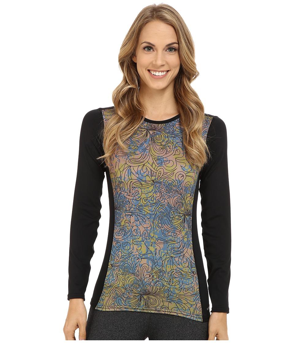 Hot Chillys - Micro-Elite Chamois Sublimated Print Crewneck (Katmandu/Black) Women's T Shirt