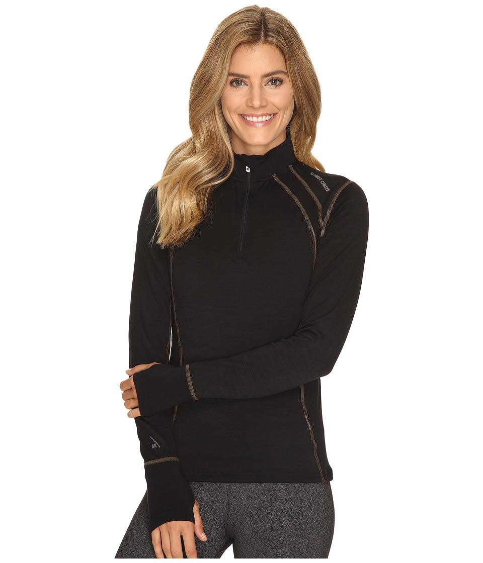 Hot Chillys - Wool 8k Zip (Solid Black) Women's Clothing