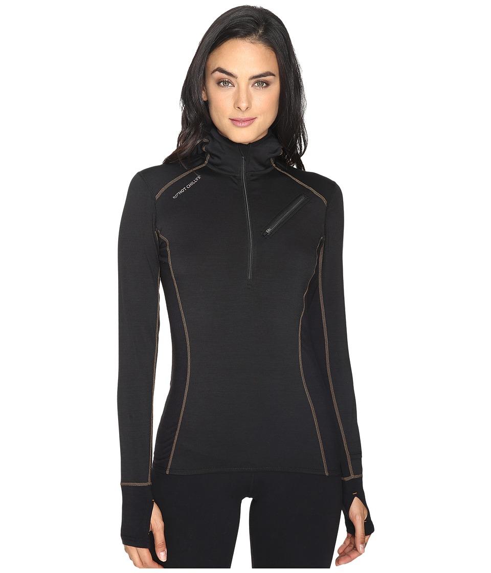 Hot Chillys - Wool 8K Hooded Pullover (Solid Black) Women's Sweatshirt