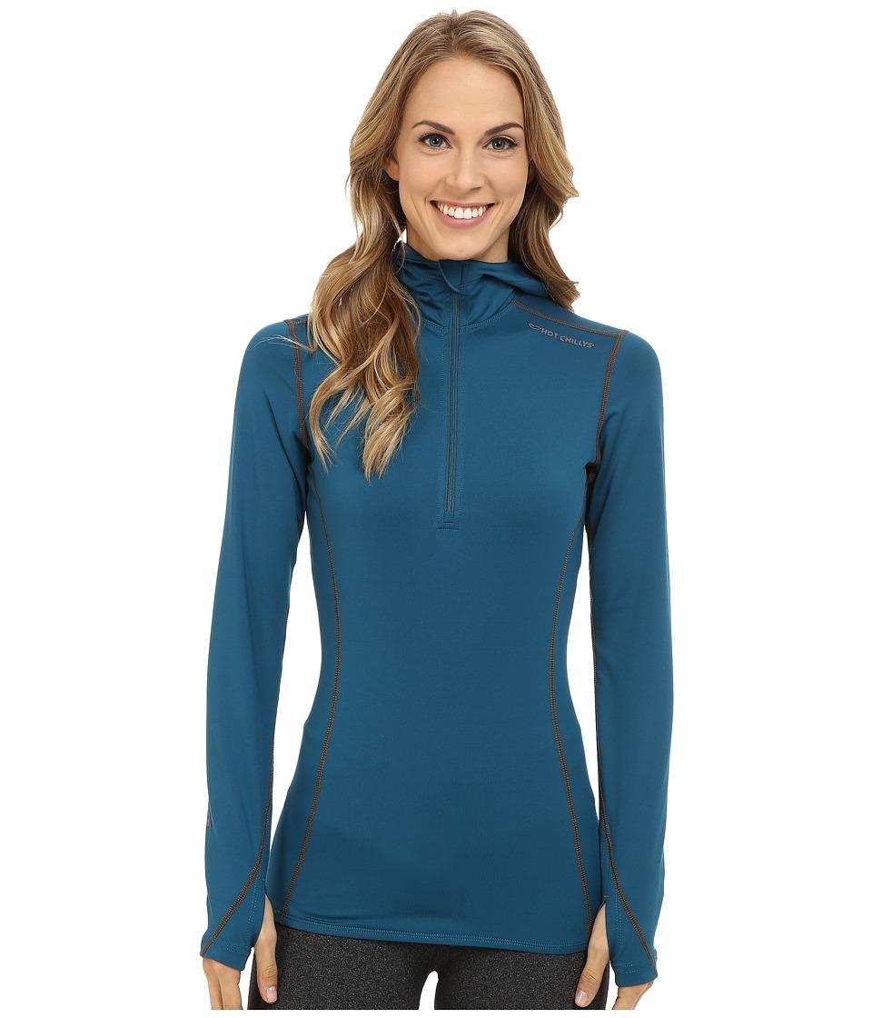 Hot Chillys - Micro-Elite Chamois 8K Hooded Zip (Lagoon) Women's T Shirt