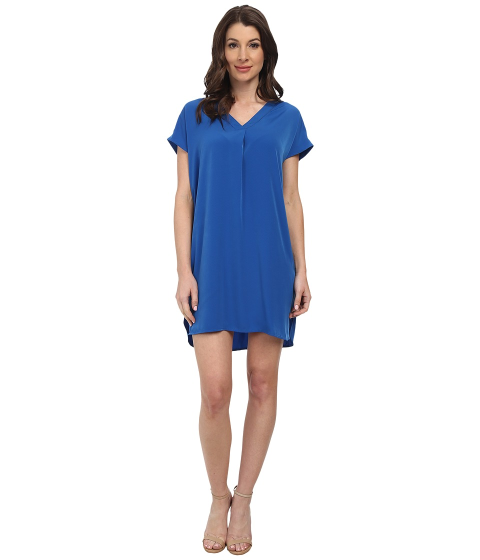 Maggy London - Solid Crepe De Chine Wedge with V-Neck (Blue) Women's Dress
