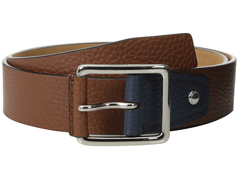 Cole Haan - 35mm Flat Stitch Strap Pebble Leather Pop Color Tab (British Tan/Navy) Men's Belts