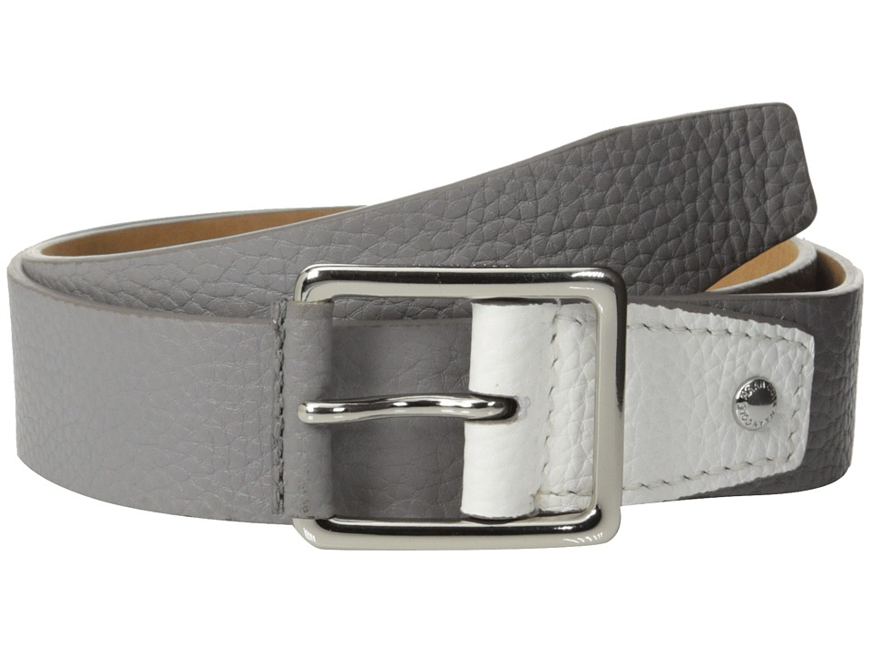 Cole Haan - 35mm Flat Stitch Strap Pebble Leather Pop Color Tab (Grey/White) Men's Belts