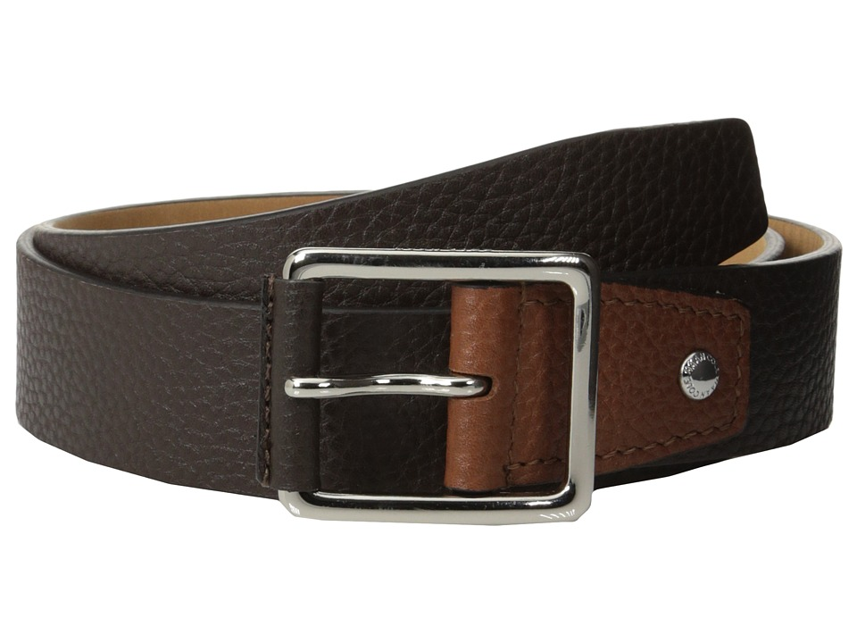 Cole Haan - 35mm Flat Stitch Strap Pebble Leather Pop Color Tab (Java/Black) Men's Belts