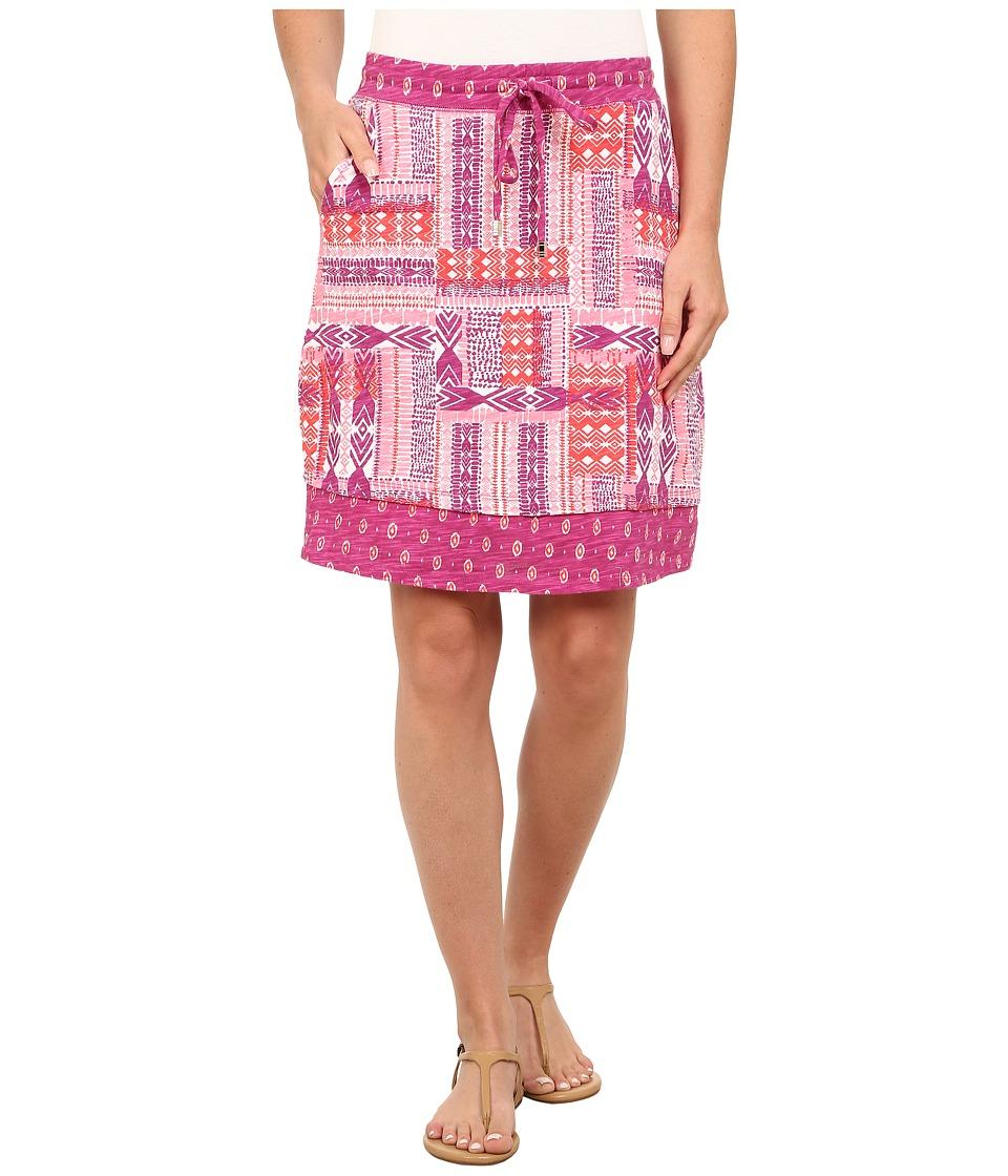 Mod-o-doc - Aztec Patchwork Printed Slub Jersey Mixed Print Skirt (Plume) Women