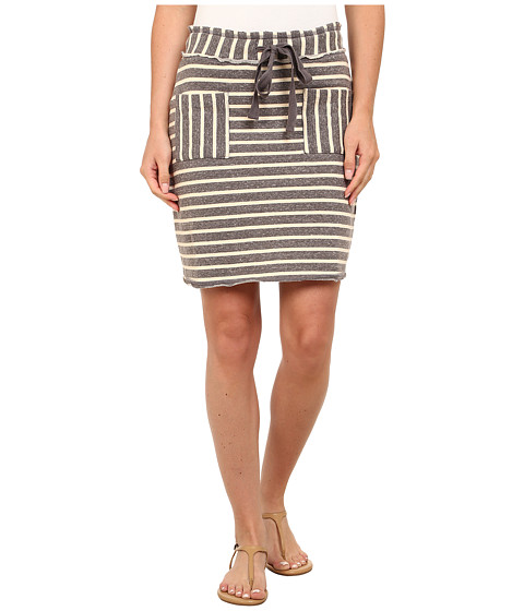 Mod-o-doc - Striped Mixed French Terry Raw Edge Stripe Skirt (Grey) Women's Skirt