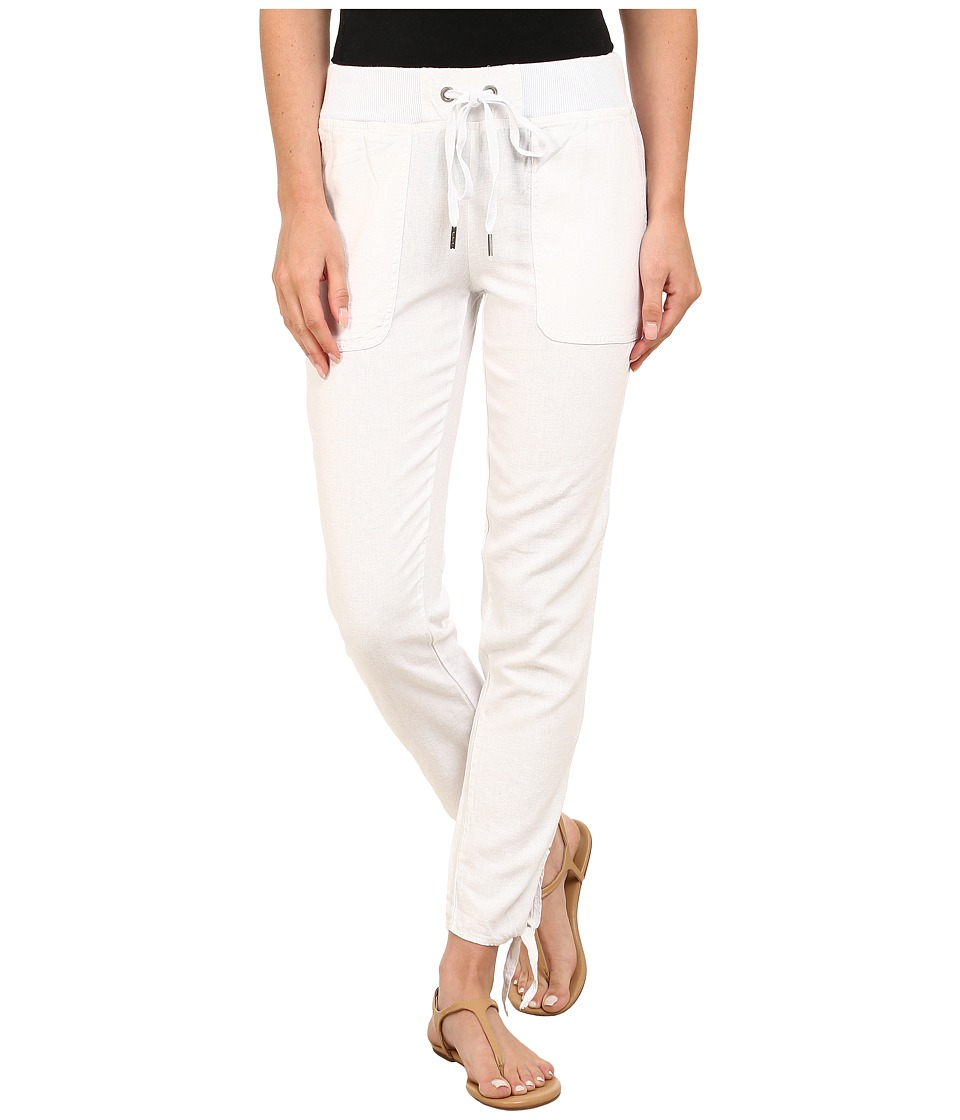 Mod-o-doc - Linen Rayon Ankle Tie Pull-On Pants (White) Women's Casual Pants