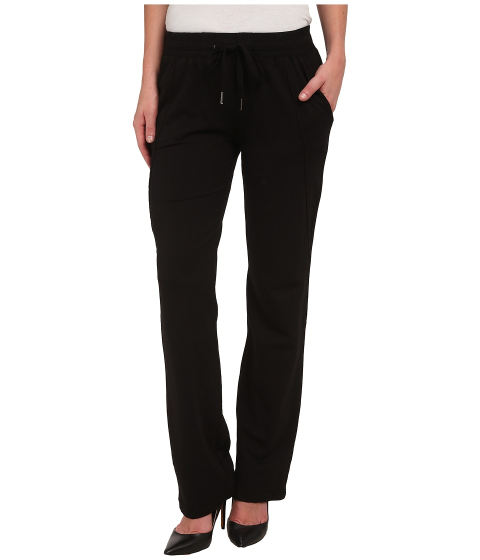 Mod-o-doc - French Terry Raw Edge Seamed Straight Leg Pants (Black) Women