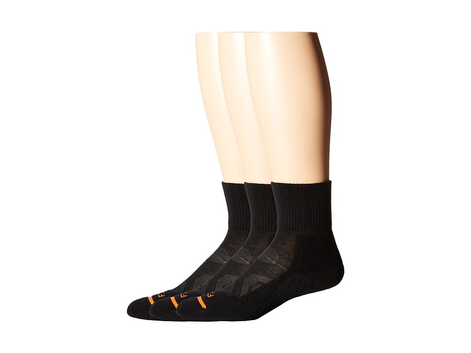 Fits - Pro Trail Performance Quarter 3-Pack (Black) Quarter Length Socks Shoes