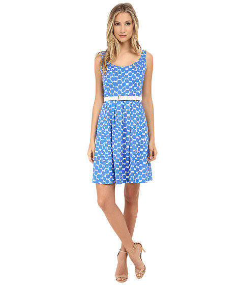 Nine West - Belted Fit and Flare Dress (Surf Combo) Women