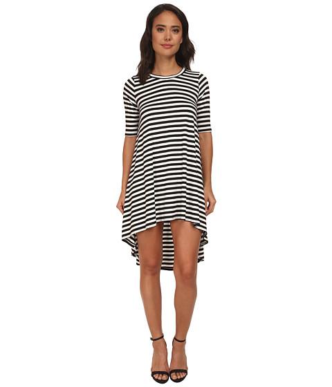 Brigitte Bailey - Ivy Stripe High-Low Dress (Black/White) Women