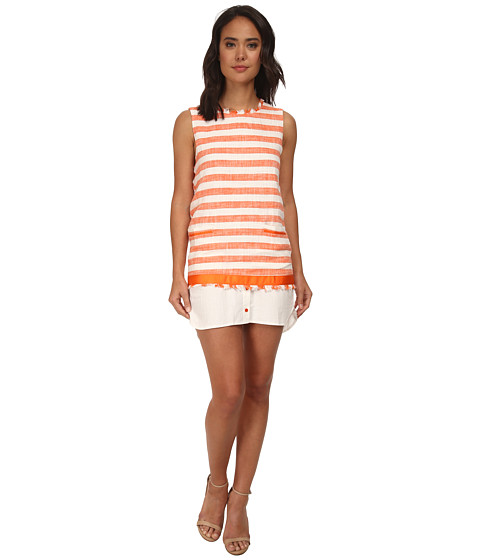 Brigitte Bailey - Cami Stripe Layered Dress/Tunic (Orange) Women's Dress