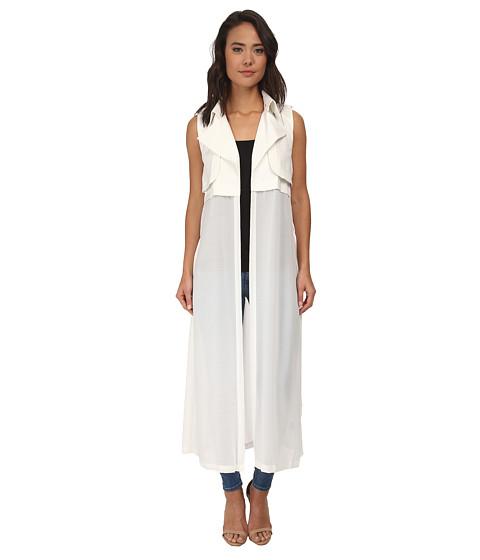 Brigitte Bailey - Addison Sleeveless Chiffon Maxi Vest (White) Women's Dress