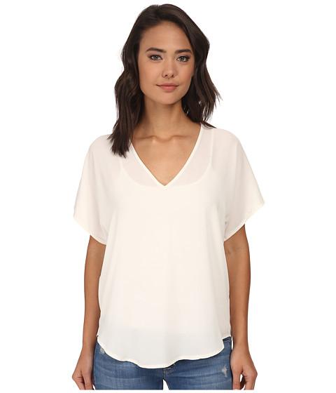 Brigitte Bailey - Becky Short Sleeve Chiffon Top (White) Women's Short Sleeve Pullover