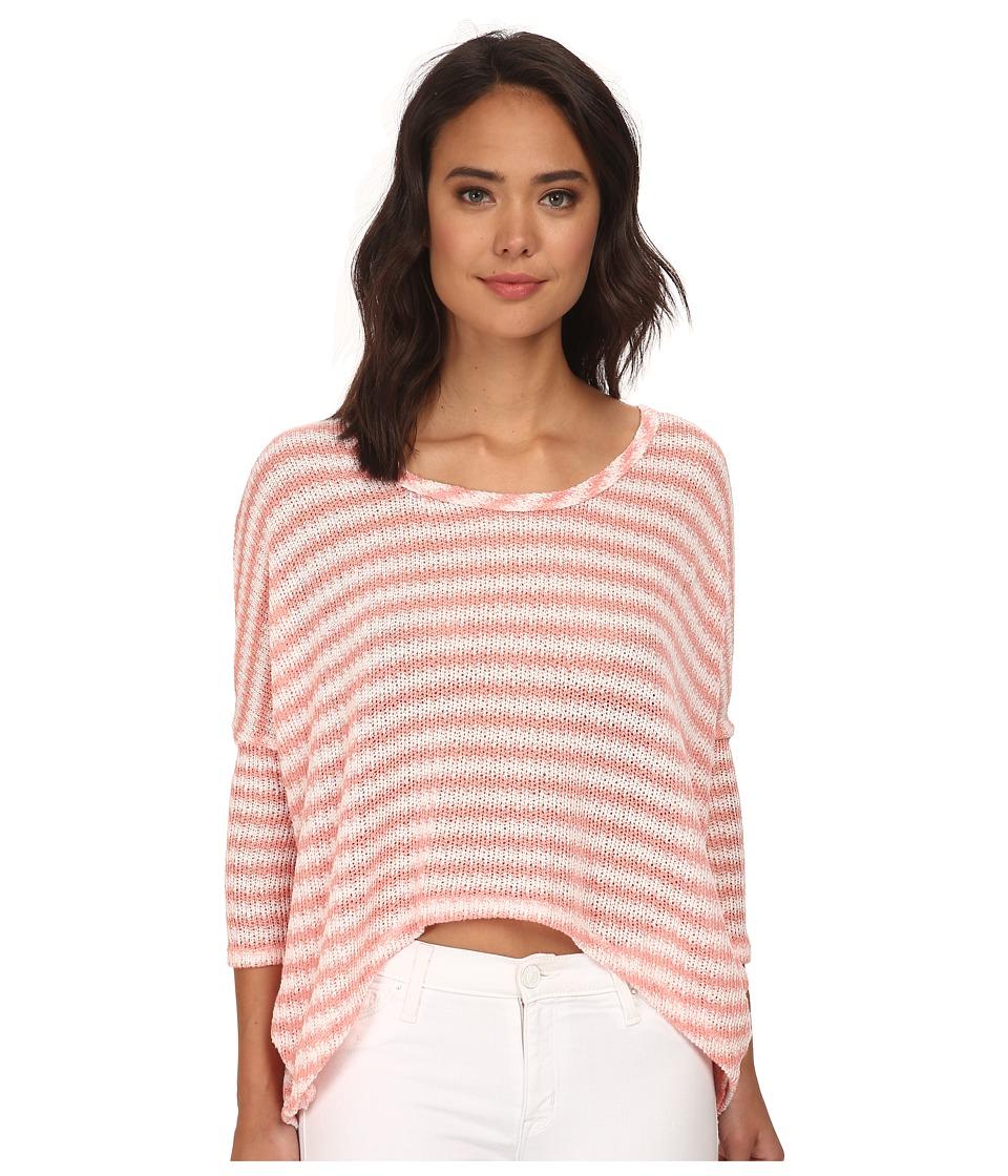 Brigitte Bailey - Jaylynn Stripe Button Back Sweater (Coral) Women