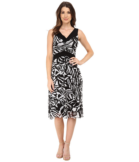 Nine West - Fit and Flare Dress (Ivory/Black) Women
