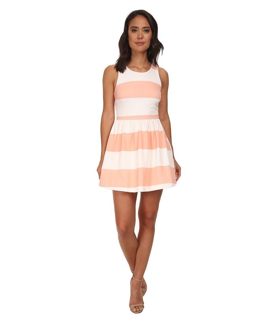 Gabriella Rocha - Brylee Stripe Skater Dress w/ Bow (Ivory/Pink) Women
