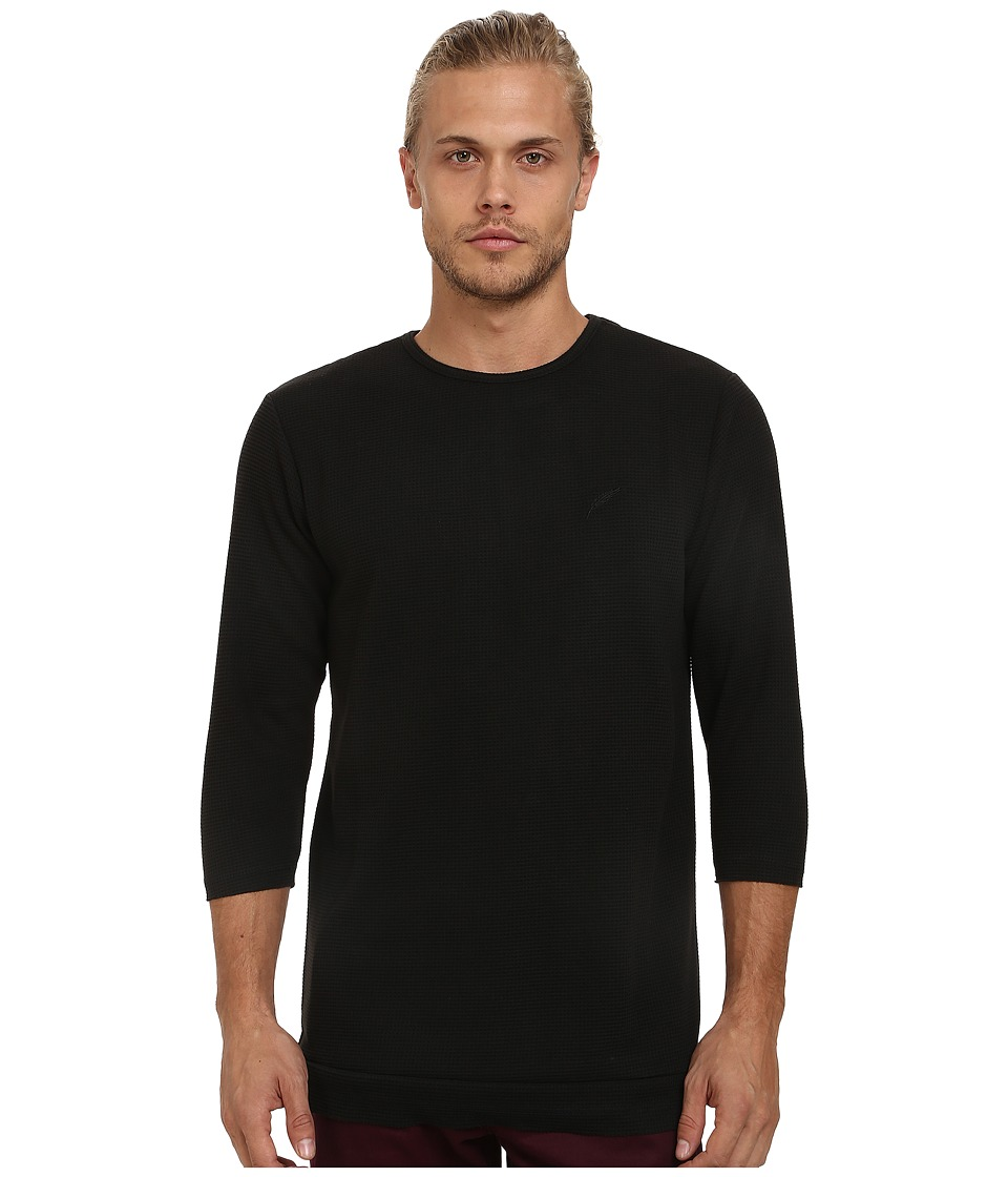 Publish - Delmar Two-Tone Thermal Long Sleeve Knit (Black) Men's Long Sleeve Pullover