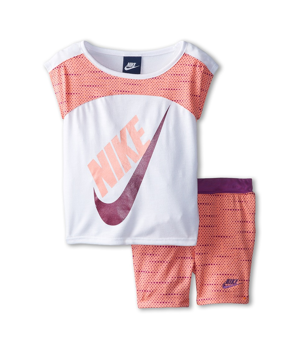 Nike Kids - Varigated Dot Dolman Short Sleeve Bike Shorts Set (Toddler) (Sunset Glow) Girl's Active Sets