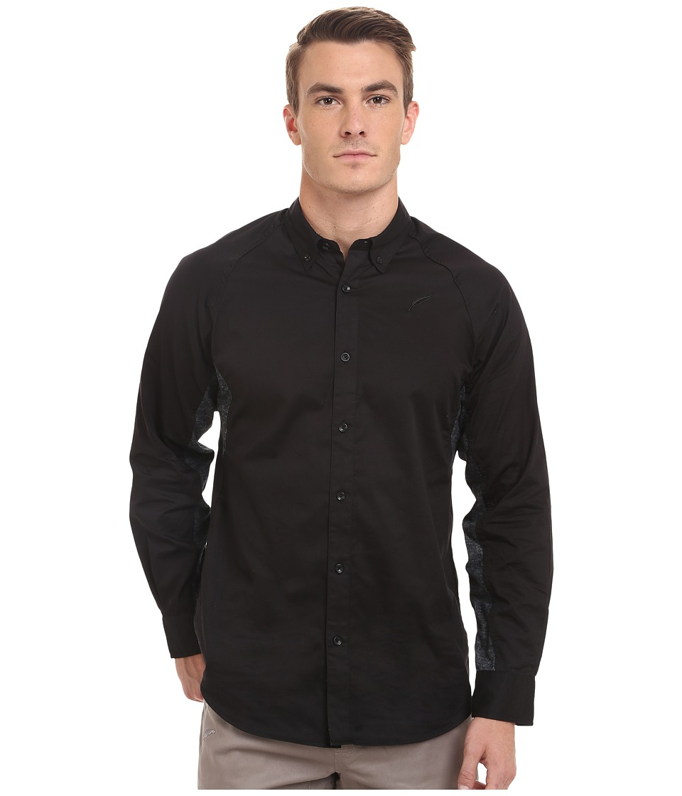 Publish - Marvin Oxford Long Sleeve Raglan Button Up (Black) Men's Long Sleeve Button Up