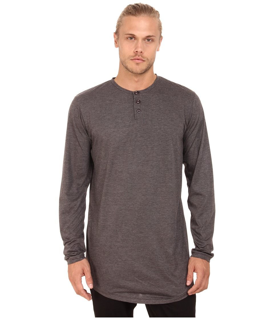 Publish - Seeger Premium Long Sleeve Henley Knit (Charcoal) Men's Long Sleeve Pullover
