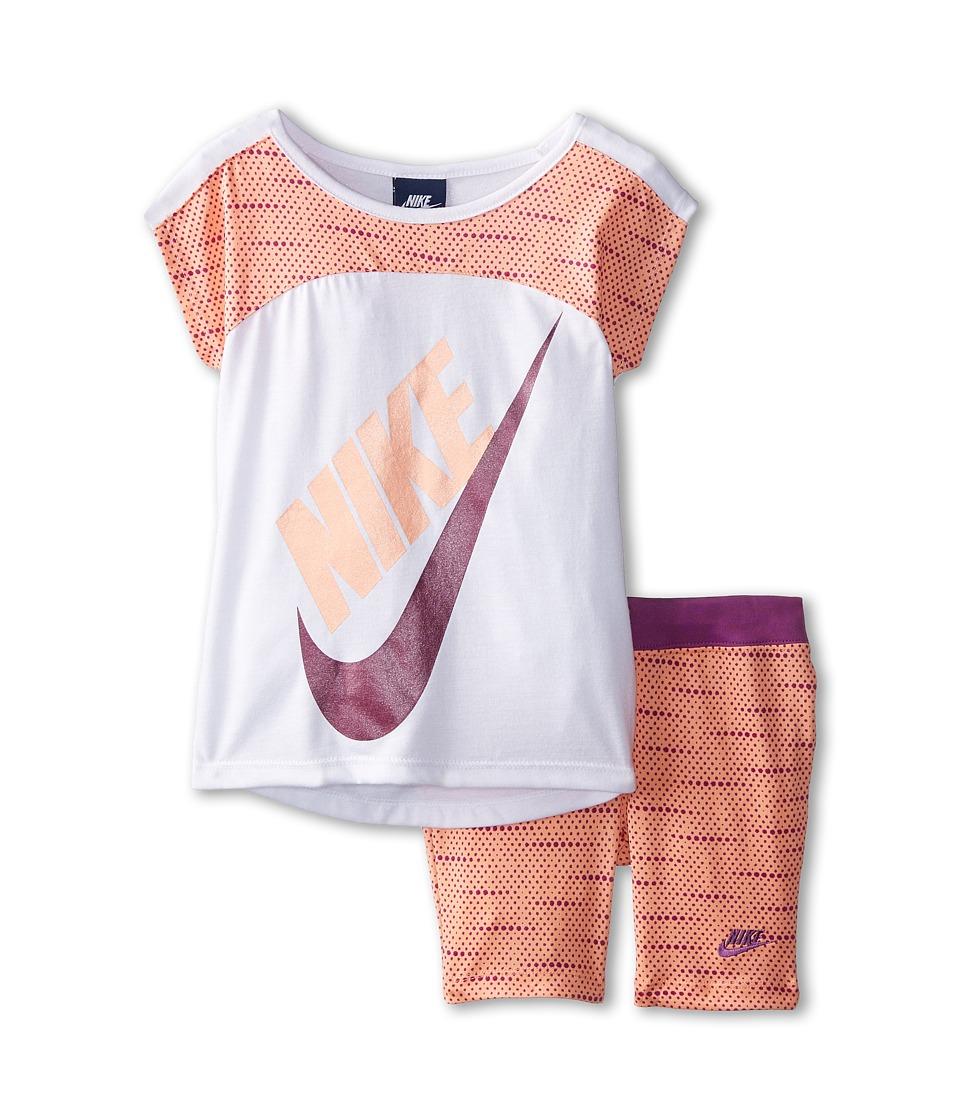 Nike Kids - Varigated Dot Dolman Short Sleeve Bike Shorts Set (Little Kids) (Sunset Glow) Girl
