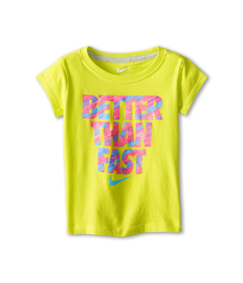 Nike Kids - Better Than Fast Short Sleeve Tee (Toddler) (Cyber) Girl's T Shirt
