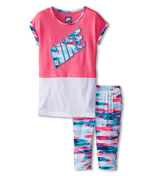 Nike Kids - Chase Stripe Twofer Tunic Capris Set (Little Kids) (Clearwater) Girl's Active Sets