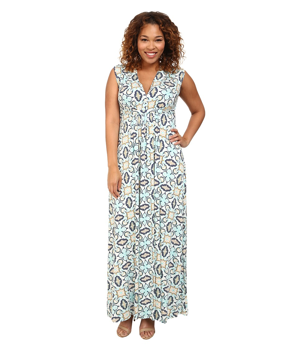 Rachel Pally Plus - Plus Size Long Sleeveless Caftan White Label Print (Pristine Bandana) Women's Dress