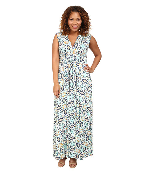 Rachel Pally Plus - Plus Size Long Sleeveless Caftan White Label Print (Pristine Bandana) Women