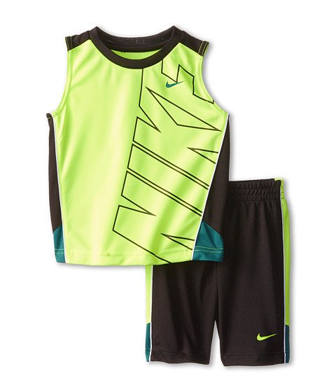 Nike Kids - Block Poly Sleeves Shorts Set (Toddler) (Black) Boy