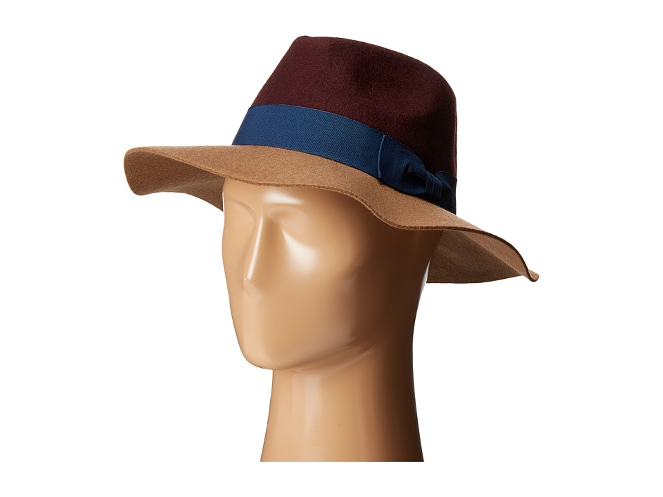 BCBGeneration - Color Block Panama (Deep Maroon) Traditional Hats