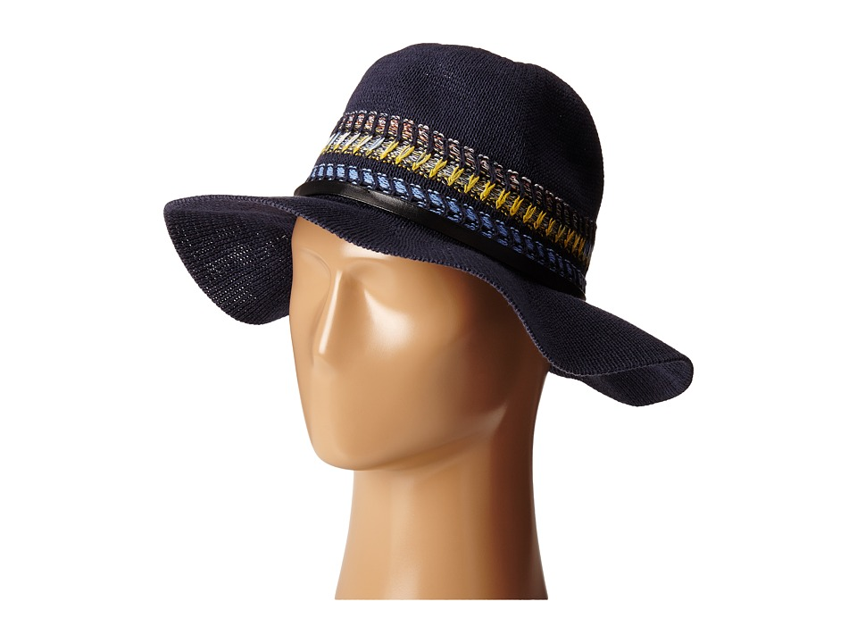BCBGeneration - Multi Stripe Packable Panama (Navy Sea) Traditional Hats