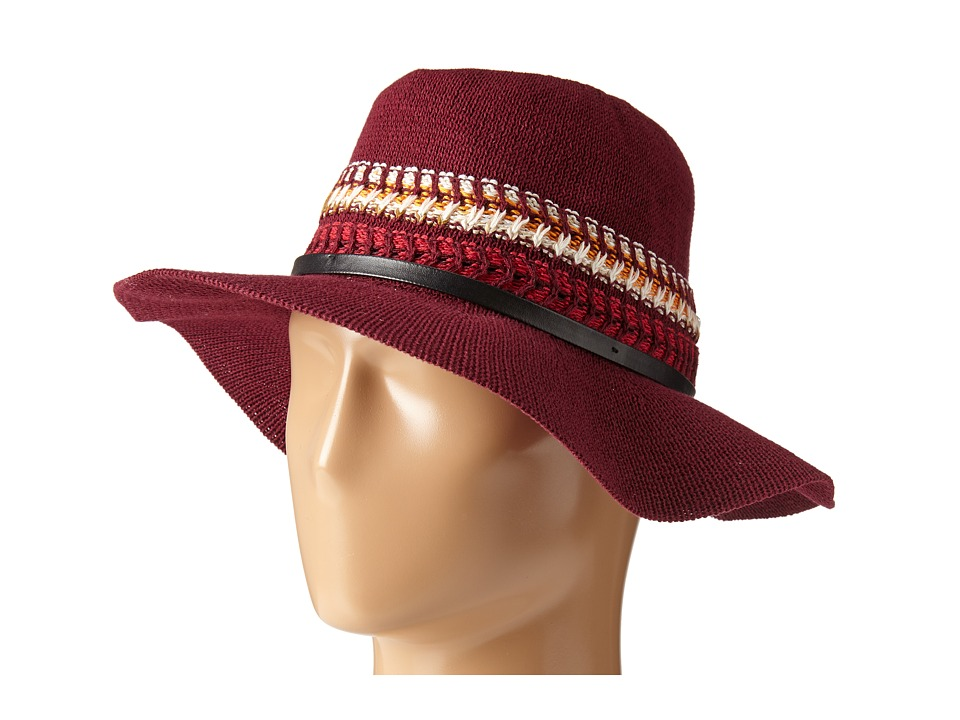 BCBGeneration - Multi Stripe Packable Panama (Deep Maroon) Traditional Hats