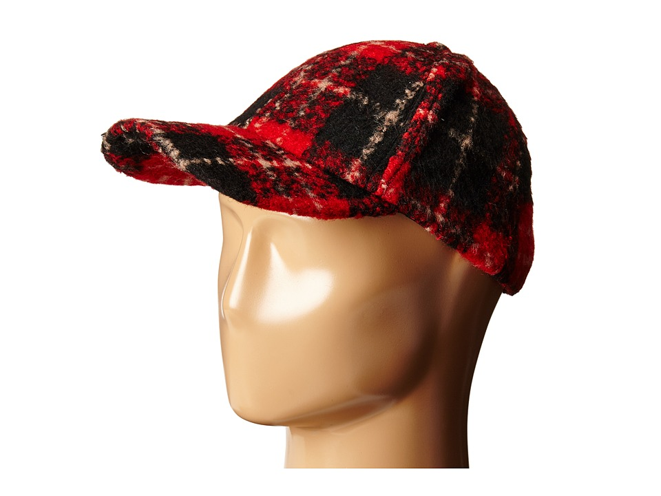BCBGeneration - Brushed Plaid Baseball Cap (Bright Red) Baseball Caps