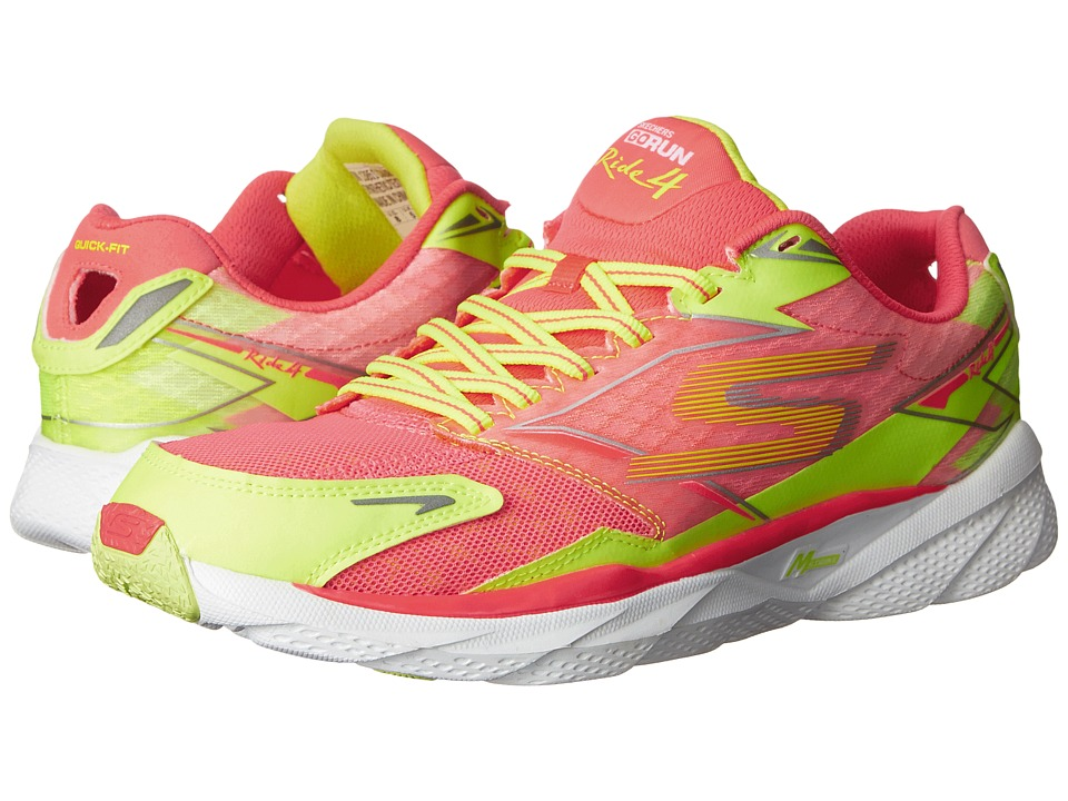 SKECHERS - GORun Ride 4 Nite Owl (Hot Pink/Lime) Women