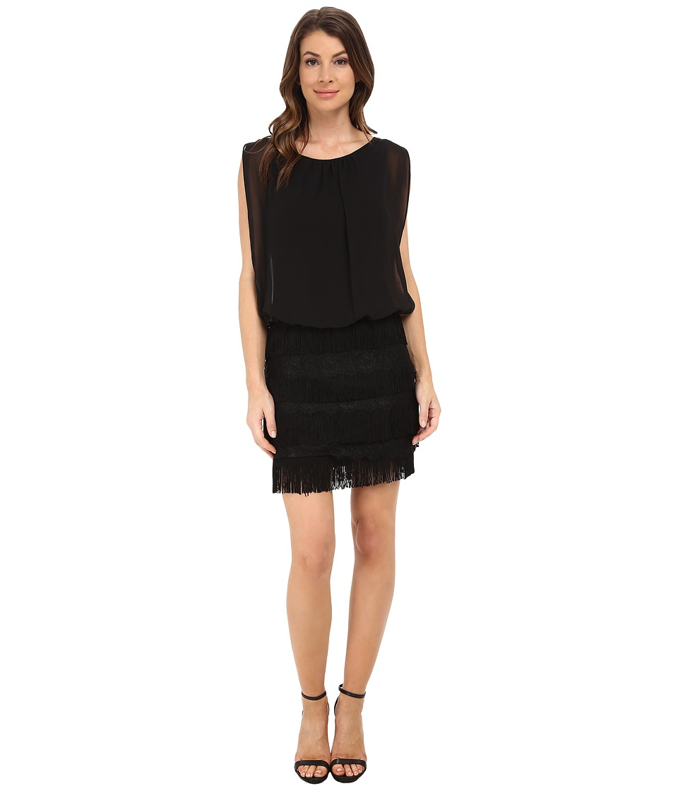 Aidan Mattox - Shutter Skirt Lace and Fringe Blouson Dress (Black) Women's Dress