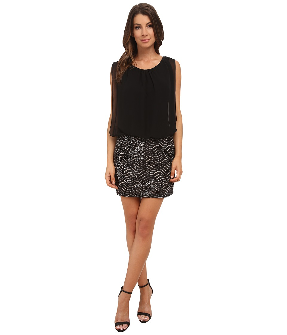 Aidan Mattox - Sequin Wave Pattern Blouson Dress (Black) Women's Dress