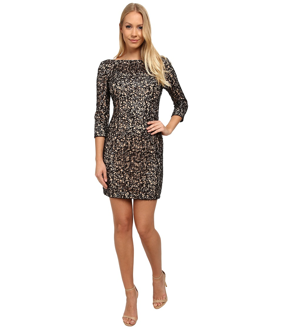 Aidan Mattox - Long Sleeve Crochet and Sequin Cocktail Dress (Black/Nude) Women's Dress