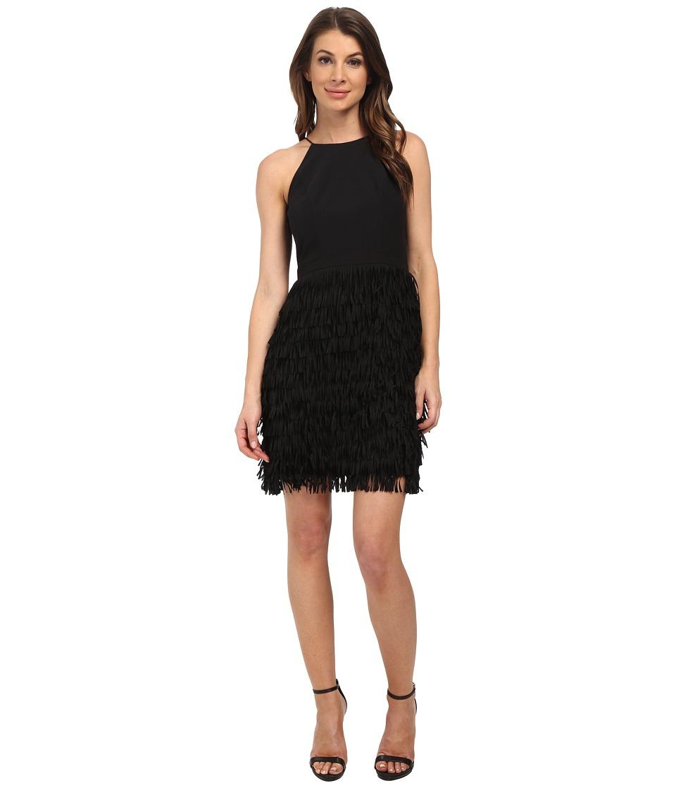 Aidan Mattox - Tiered Fringe Halter Cocktail Dress (Black) Women's Dress