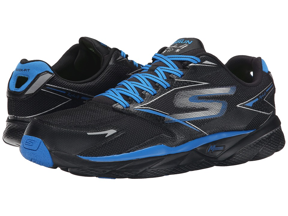 SKECHERS - GORun Ride 4 All Weather (Black/Blue) Men's Running Shoes
