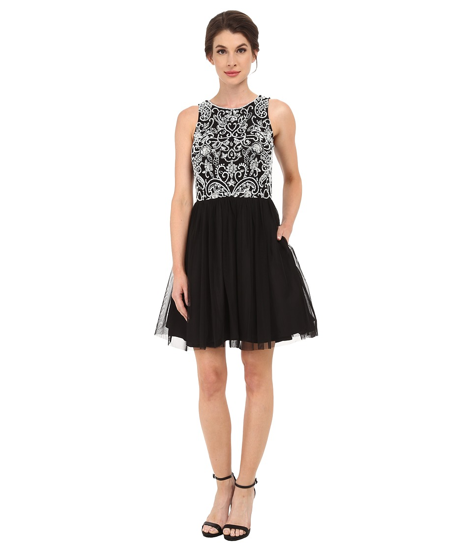 Aidan Mattox Party Dress w/ Beaded Bodice (Black/Ivory) Women