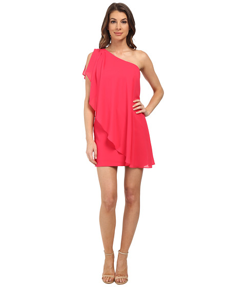 Aidan Mattox - One Shoulder Fly Away Shift (Lipstick) Women's Dress