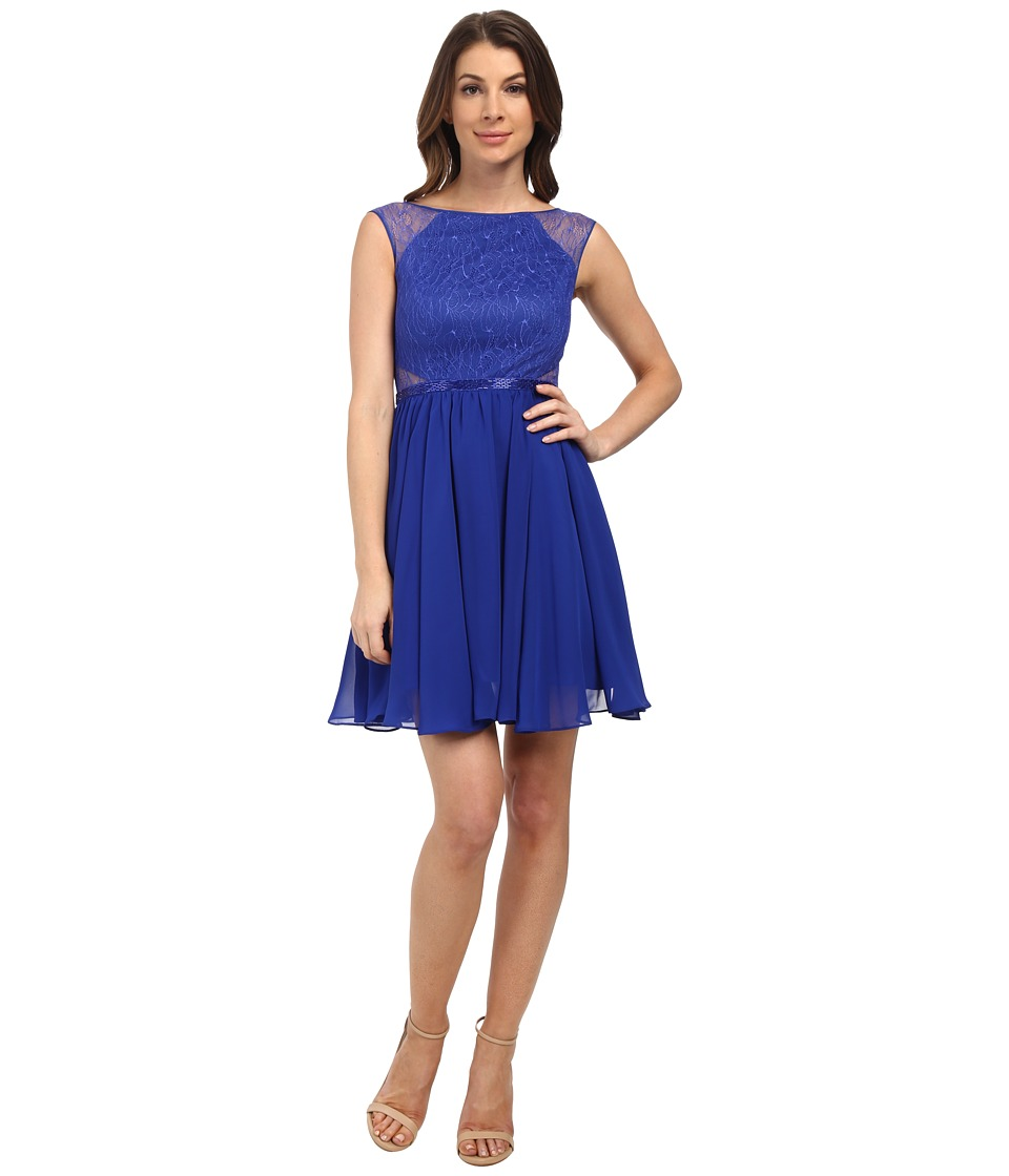 Aidan Mattox Chiffon Party Dress with Lace Illusion (Neptune) Women