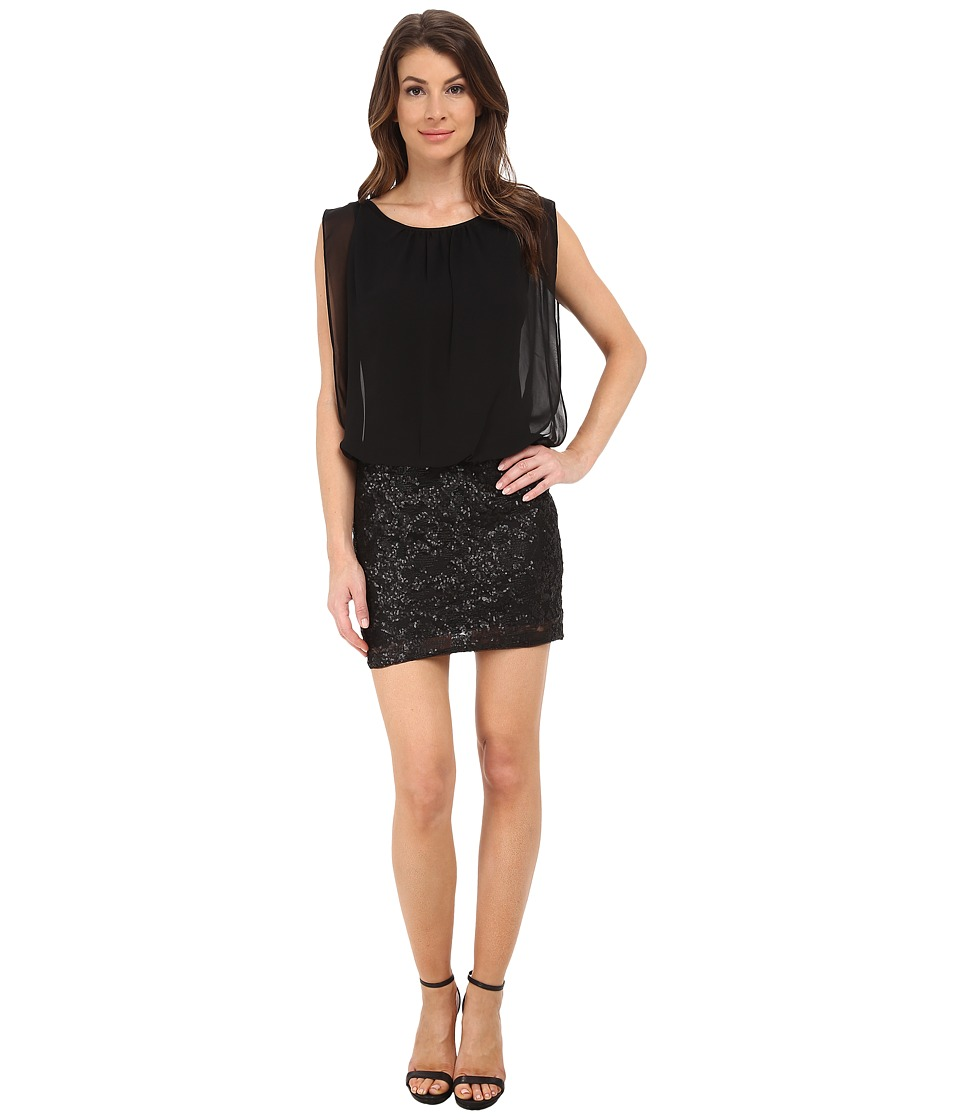 Aidan Mattox - Embroidered Sequin Chiffon Blouson Dress (Black) Women
