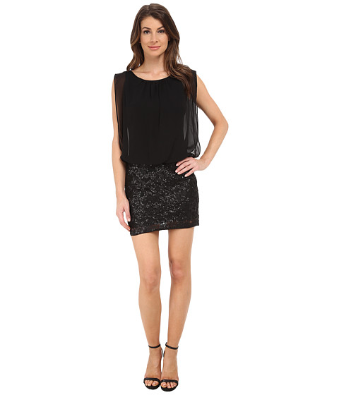 Aidan Mattox - Embroidered Sequin Chiffon Blouson Dress (Black) Women's Dress